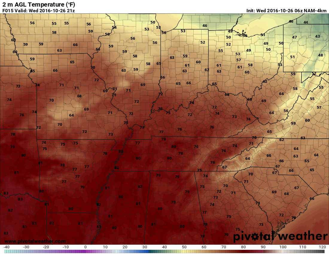 The hi-res NAM's forecast for temperatures this afternoon. h/t pivotalweather.com