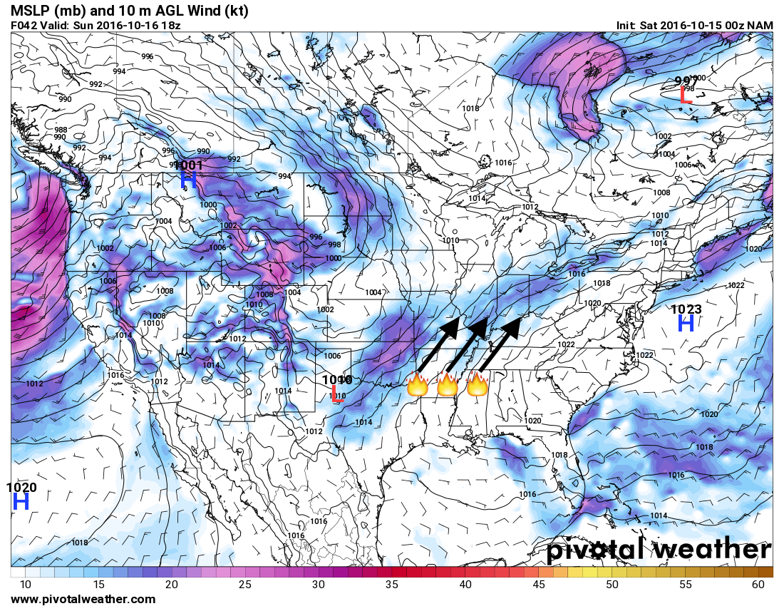 The NAM showing the potential for southwesterly flow at the surface on Monday. h/t pivotalweather.com