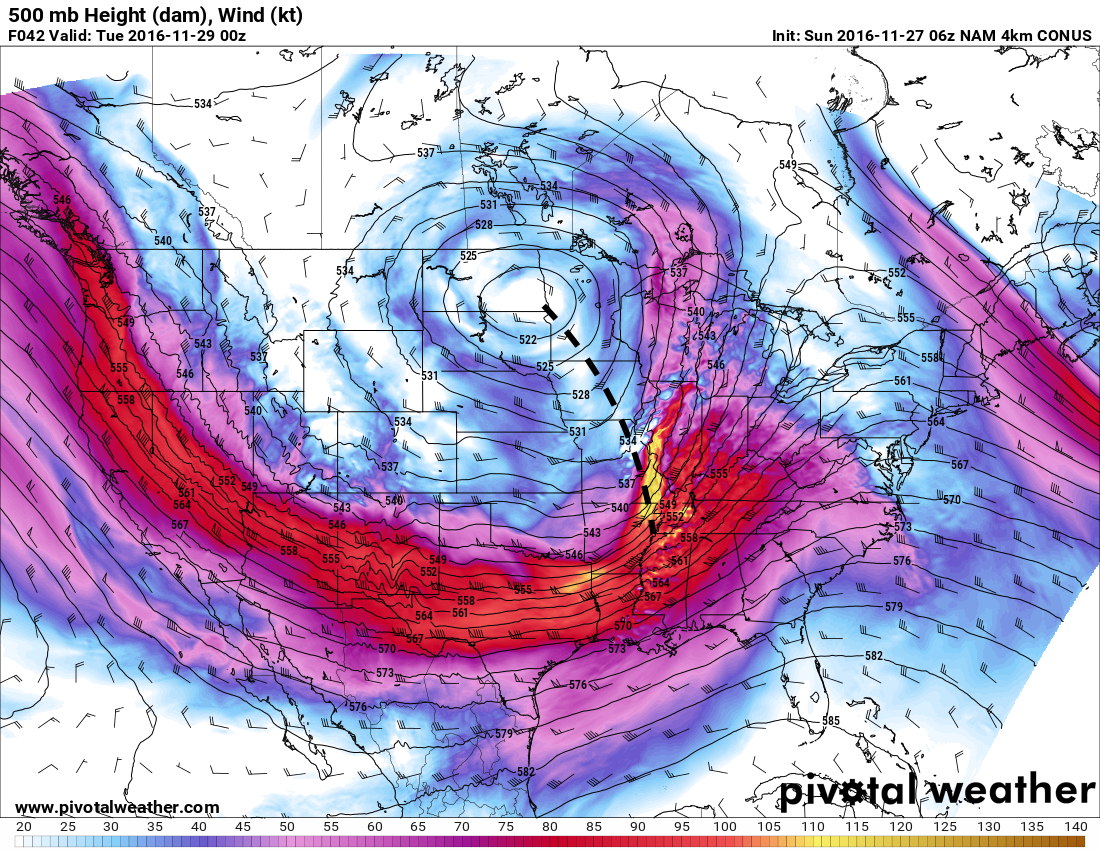 The anticipated 500 mb winds and heights from the hi-res NAM for tomorrow evening. The shortwave moving towards us is denoted by the dotted line. h/t pivotalweather.com