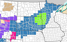 The blue indicates a county under a Winter Storm Watch and the green indicated a county under a Blizzard Watch. h/t NWS