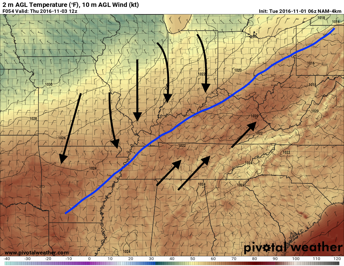 The cold front is depicted by the hi-res NAM to move through between mid-morning and early afternoon. h/t pivotalweather.com