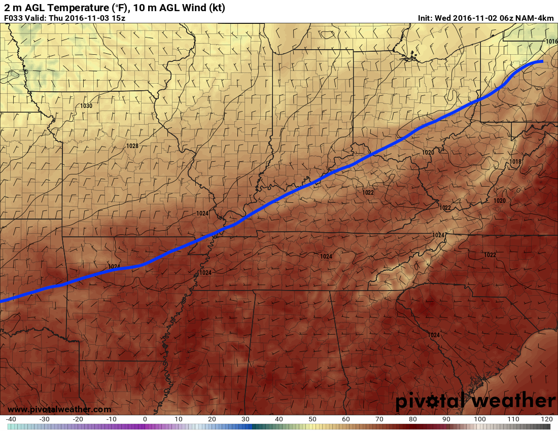The cold front looks to come through near noon tomorrow. h/t pivotalweather.com