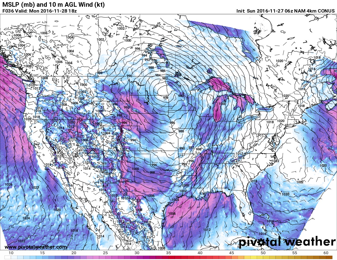 Look at the tightness of the pressure gradient by tomorrow afternoon! h/t pivotalweather.com