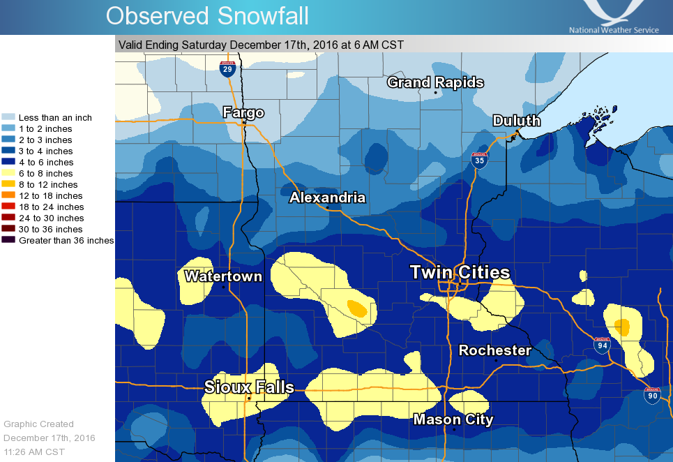 The snowfall totals across the Upper Midwest. h/t NWS Twin Cities