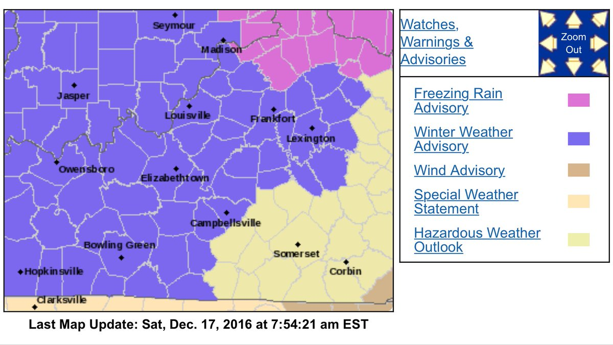 The Winter Weather Advisory covers the entire WxOrNotBG region. h/t NWS Louisville