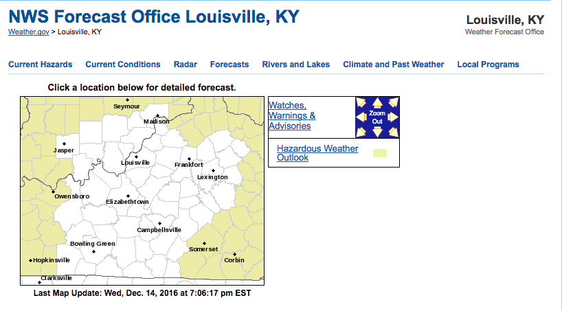 This is the homepage of the National Weather Service Office in Louisville.