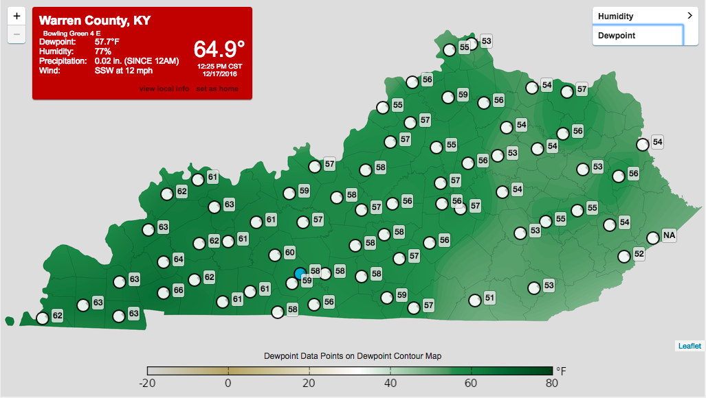 The 60 degree dewpoints on Saturday were the primary reason our severe weather threat increased. h/t KY Mesonet