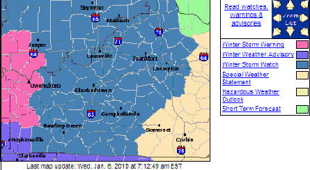 That blue color is the Winter Storm Watch. h/t WOLC Blog