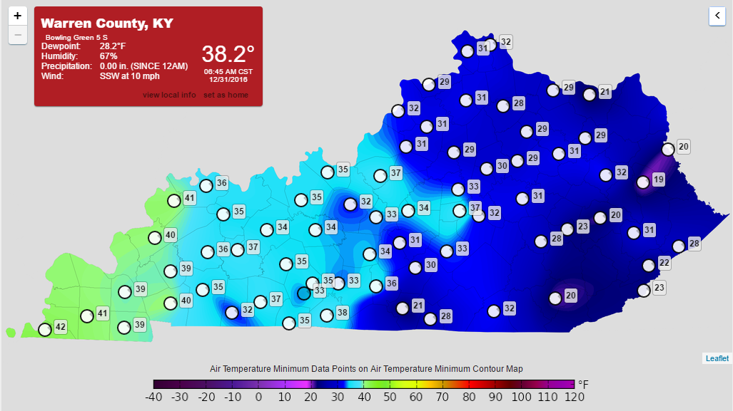 Kentucky Mesonet Low Temepratures This Morning