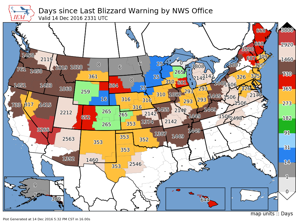 The days since an individual NWS office has issued a Blizzard warning. h/t Iowa Mesonet