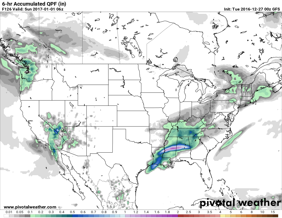 The GFS is currently showing precip on New Year's Eve. This has plenty of time to change. h/t pivotalweather.com