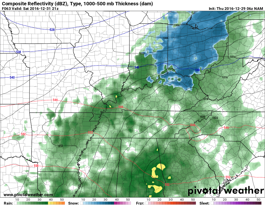 Looks like it'll be a nasty rain on Saturday afternoon and evening. h/t pivotalweather.com