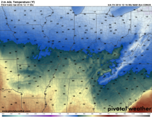 Hi-res NAM valid tonight at 6pm. We've been so cold, mid-30s show up as green! (Pivotal Weather)