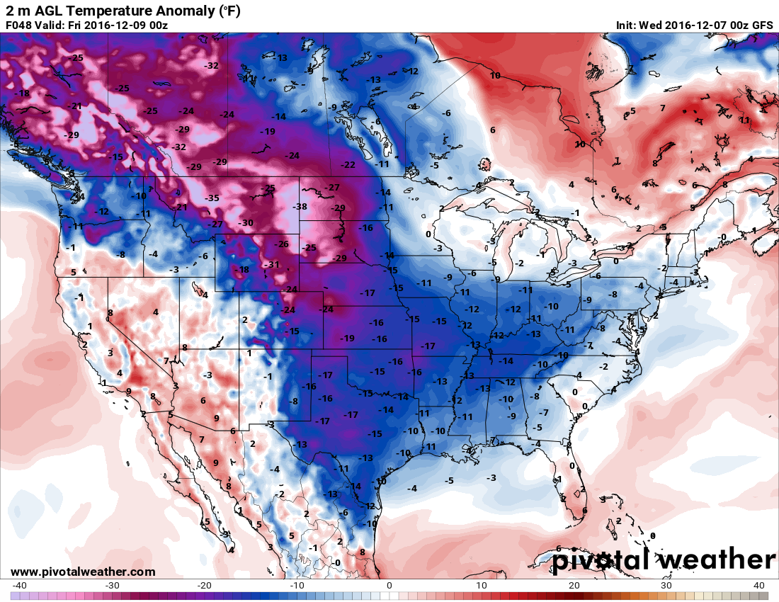 Forecast temperature anomalies for Thursday afternoon/evening. Temps are likely to be well below normal. h/t pivotalweather.com