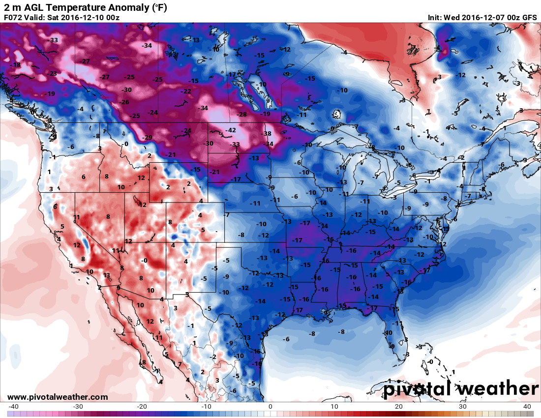 Forecast temperature anomalies for Friday afternoon/evening. Temps are likely to be 10 to 15 degrees below normal. h/t pivotalweather.com
