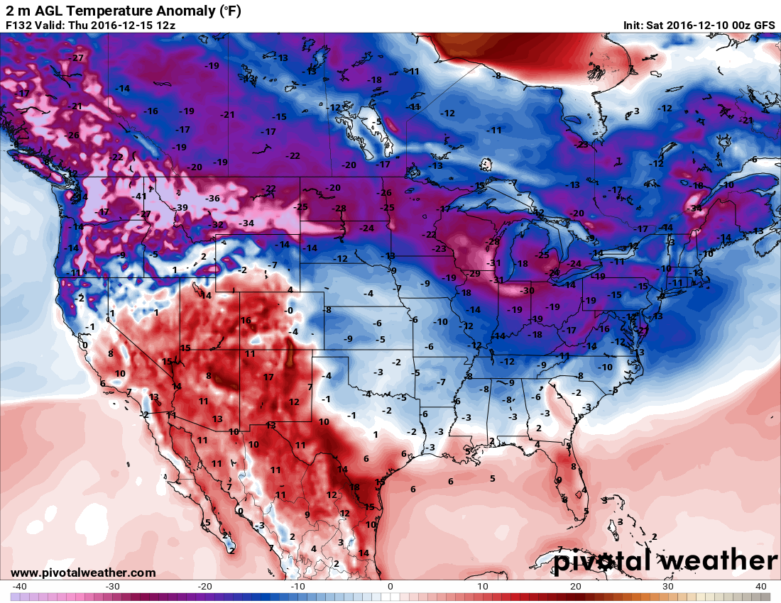 The GFS model showing temperature anomalies that are well below average by the end of this coming week. h/t pivotalweather.com