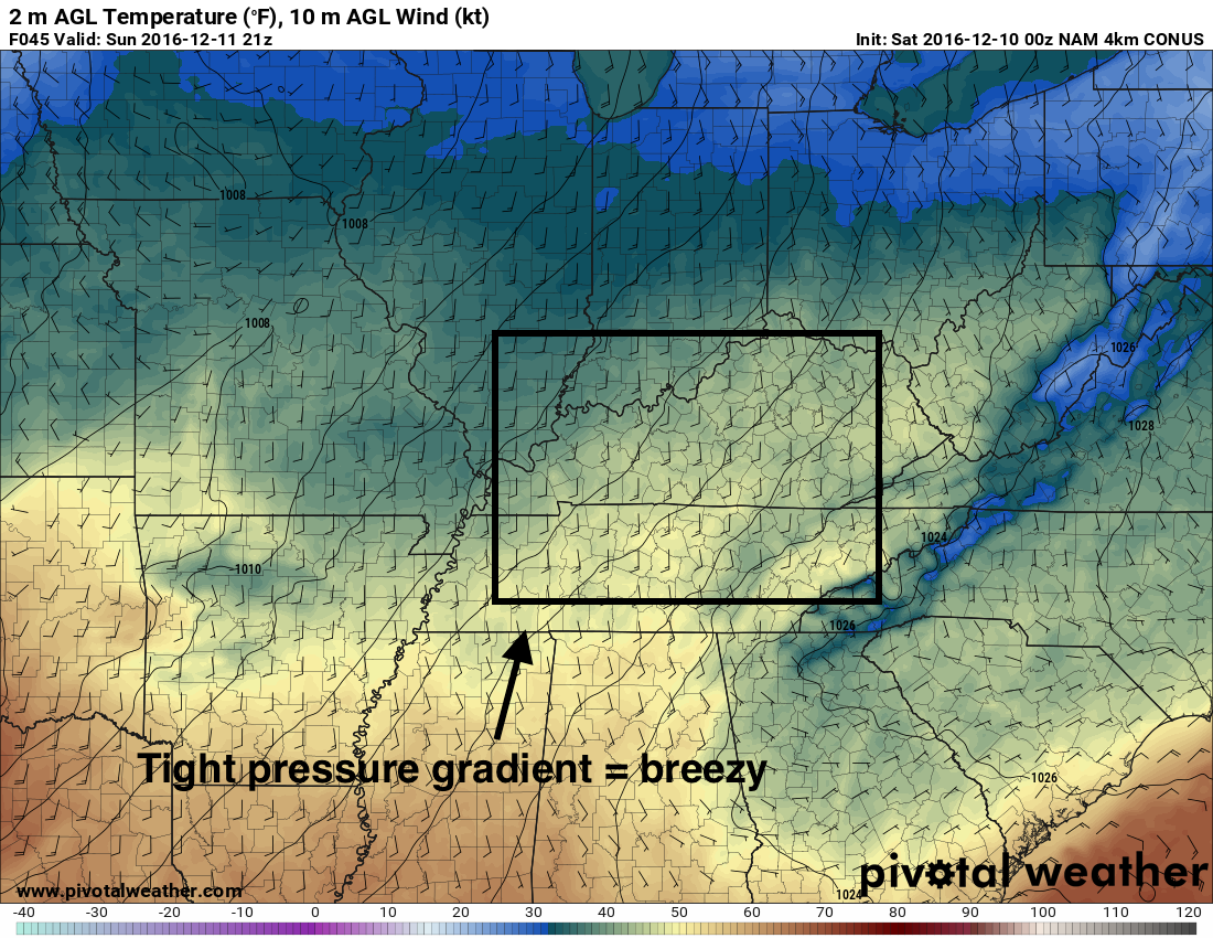 It should be pretty breezy by tomorrow afternoon! h/t pivotalweather.com