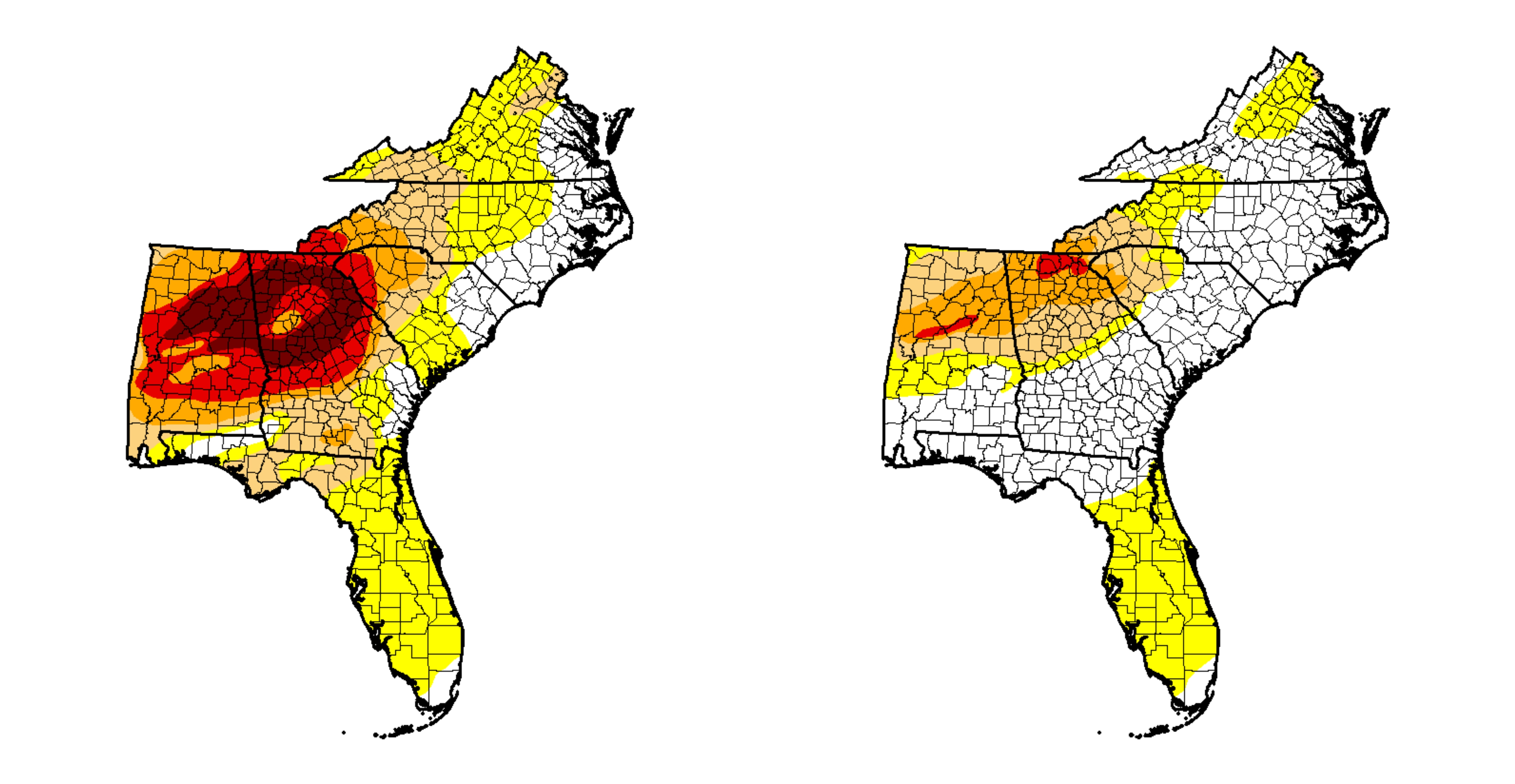 The difference in drought is stark across the south. This is between the beginning of this year and now. h/t Drought Monitor
