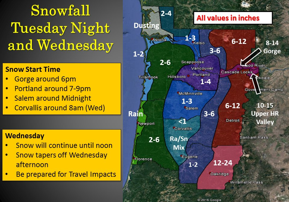 The initial snowfall forecast for Portland and the surrounding areas. h/t NWS Portland