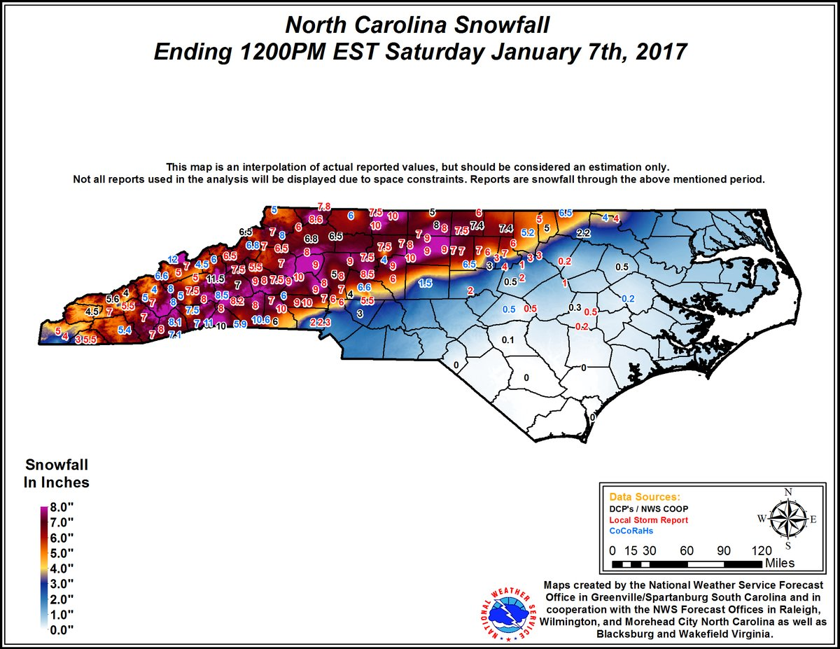 The observed snowfall in North Carolina. h/t NWS Raleigh