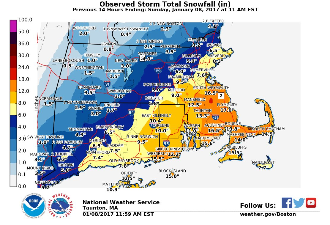 Snowfall in southern New England over the weekend. h/t NWS Boston