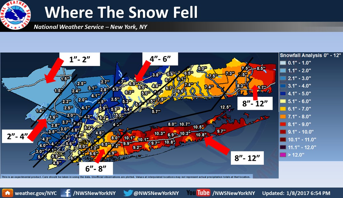 Snowfall in the NYC and Connecticut region. h/t NWS New York, NY