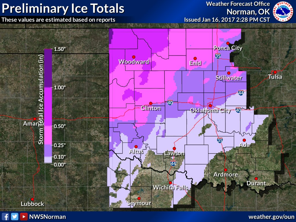 The storm total ice in central Oklahoma. h/t NWS Norman