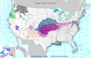 Large area under Winter Storm Watches (steel blue), Warnings (hot pink) and Ice Storm Warnings (dark magenta). Yes, those are actual color names. (NWS)