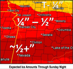 Ice accumulation forecast through Sunday night. (NWS Kansas City/Pleasant Hill)