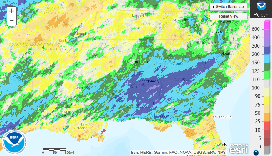Percent of normal rainfall has been ridiculous across the southeast recently. h/t NWS