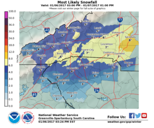 Snowfall forecast from NWS Greenville-Spartanburg. (NWS GSP)