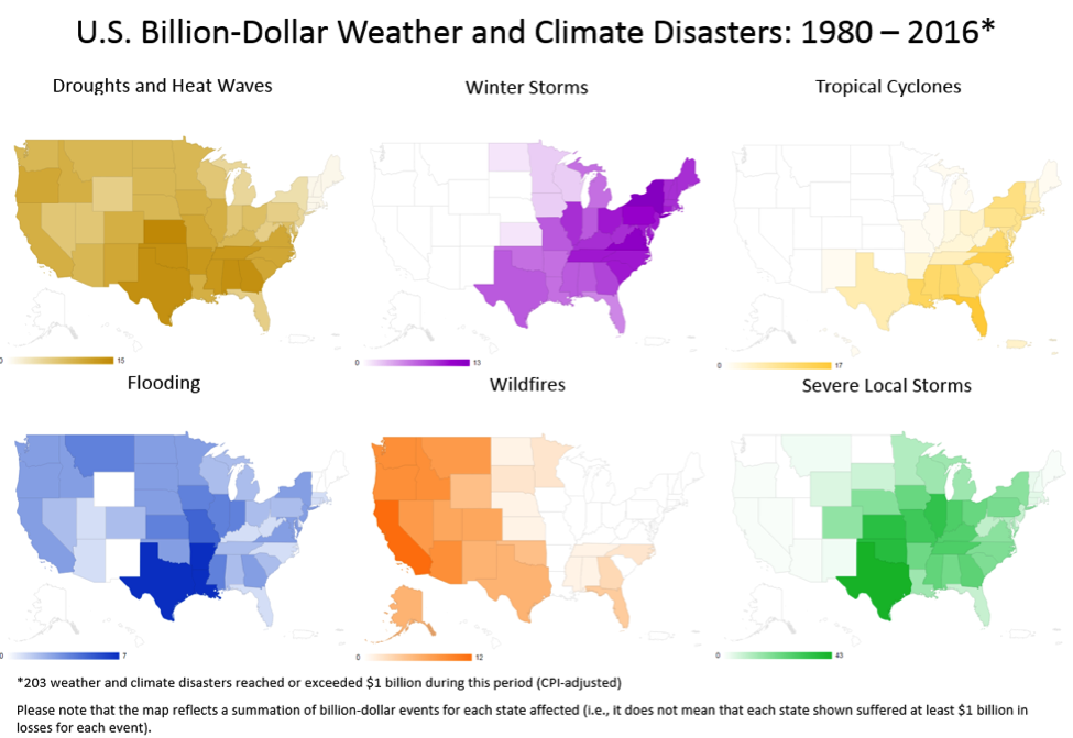 The categorized disasters by state between 1980 and 2016. h/t NOAA