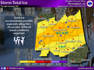Ice accumulation forecast for central Alabama. (NWS Birmingham)