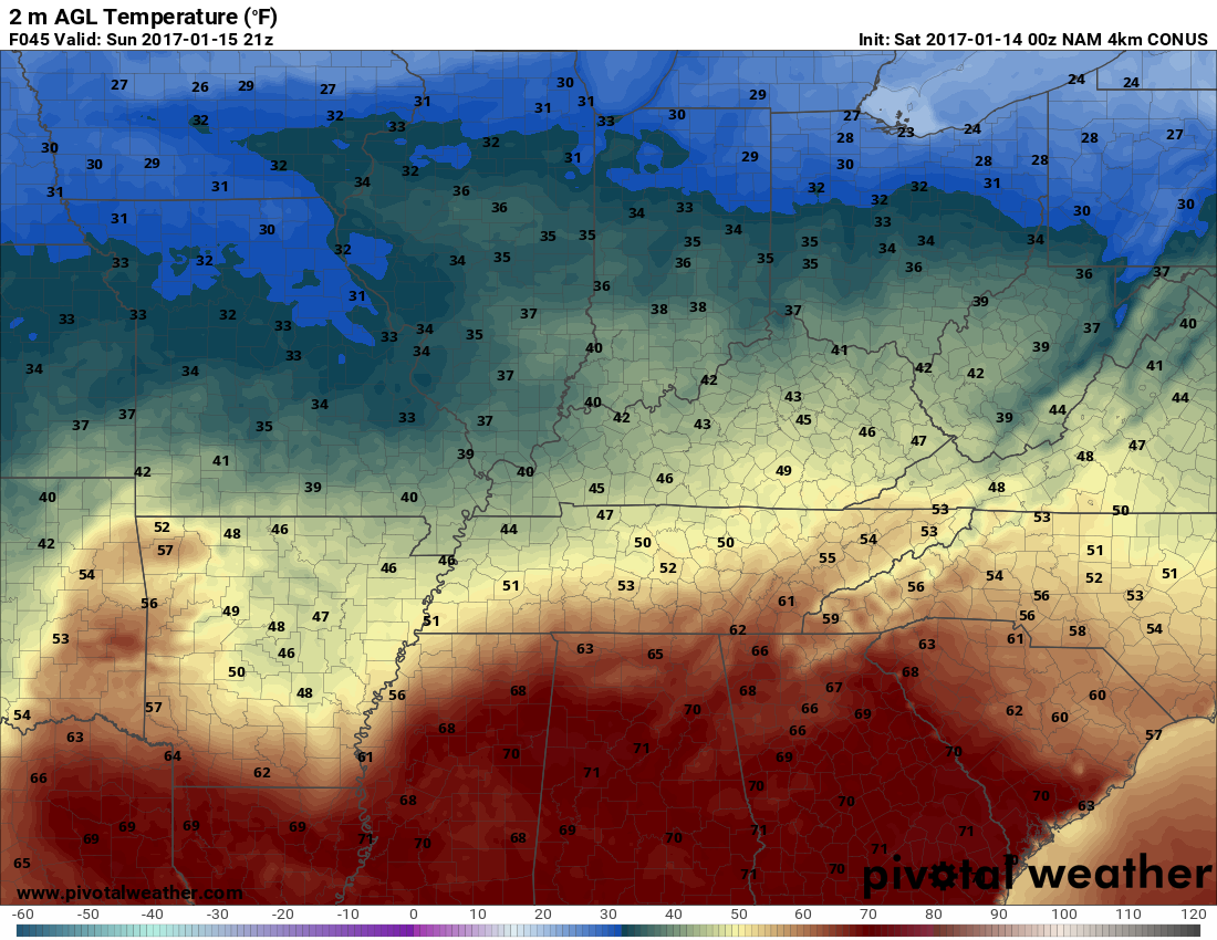 Not looking warm outside tomorrow. h/t pivotalweather.com