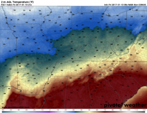 Hi-Res NAM temperatures valid for 3pm this afternoon. (Pivotal Weather)
