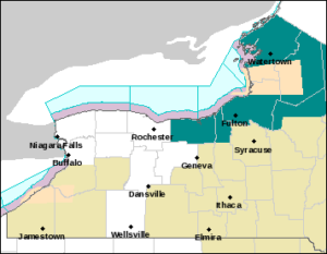 Lake Effect Snow Warnings for counties bordering Lake Ontario. Color? Dark Cyan. (NWS Buffalo)