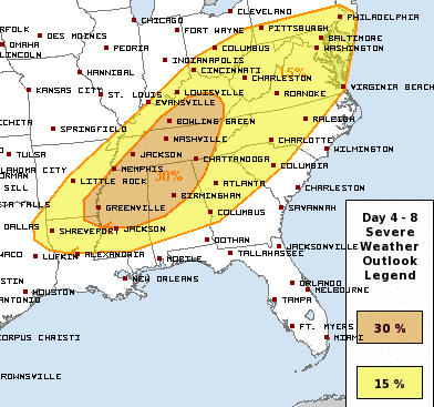 Wednesday's severe weather outlook from the SPC. BG is in the Enhanced Risk. h/t SPC
