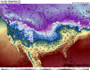 GFS Surface Temperatures valid for Wednesday at midnight CT. (Pivotal Weather)
