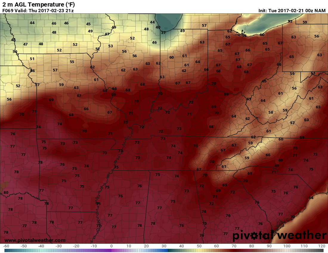 The NAM has us getting warm on Thursday! h/t pivotalweather.com