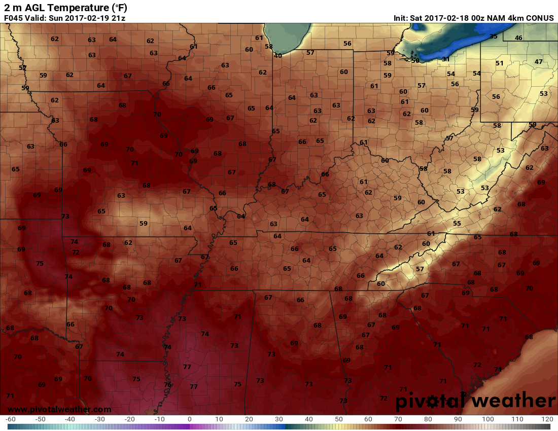 Its looking pretty warm tomorrow, too! h/t pivotalweather.com