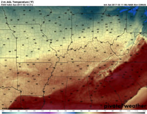 Hi-res NAM surface temperatures valid 3pm tomorrow. Right on that light jacket/hoodie line. (Pivotal Weather)