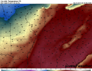NAM Surface Temperatures valid for 3pm today. The more sun we see, the higher these numbers can go. (Pivotal Weather)