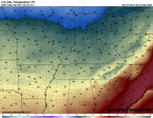 NAM surface temperatures valid for 3pm on Saturday. I think these temps are quite underdone but I wanted illustrate how much cooler it will be. (Pivotal Weather)