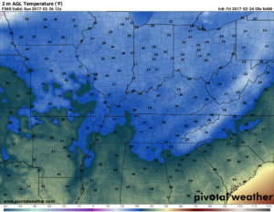 NAM surface temperatures valid at 12am Sunday. Brrr! (Pivotal Weather)