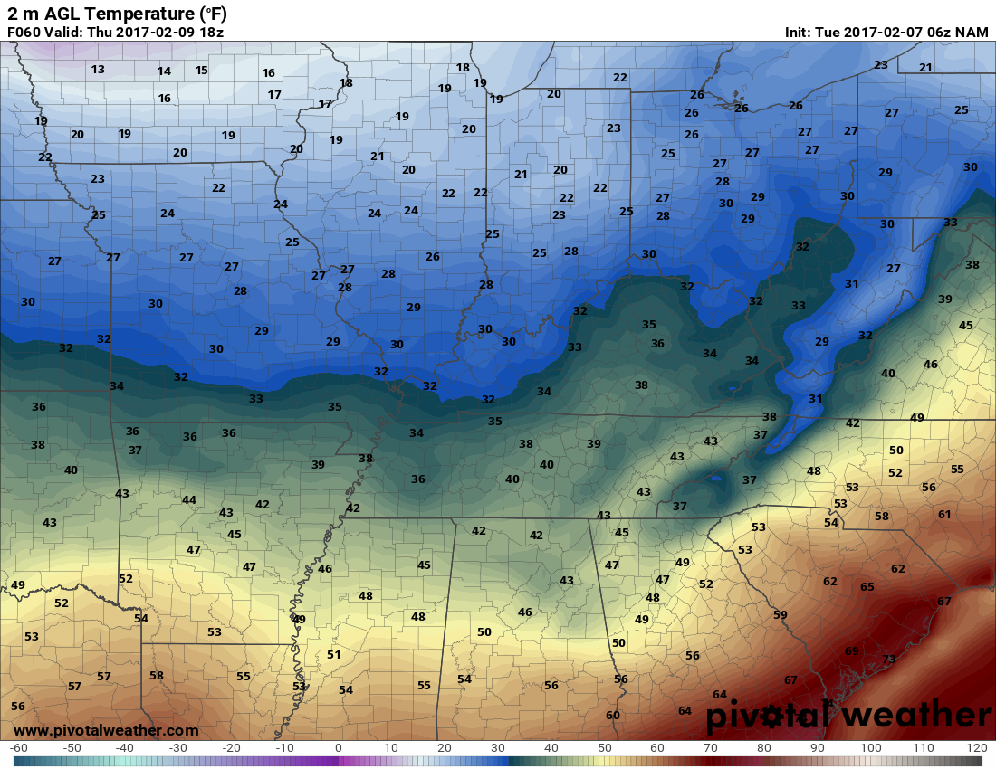 It is looking cold on Thursday. h/t pivotalweather.com