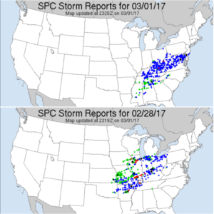 Filtered storm reports from 6am yesterday to 6am today (top) and from 6am through present today (bottom). (Storm Prediction Center)