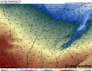 Hi-res NAM surface temperatures valid 3pm today. Yes, PM. (Pivotal Weather)