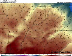 NAM surface temperatures valid 3pm on Sunday. Really nice. (Pivotal Weather)